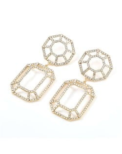 Hollow Geometric Combo Design Bold Fashion Women Banquet Style Costume Earrings - Golden