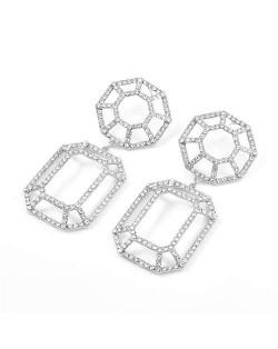 Hollow Geometric Combo Design Bold Fashion Women Banquet Style Costume Earrings - Silver