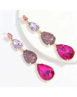 Waterdrop String Design Women Alloy Shoulder Duster Earrings - Rose
