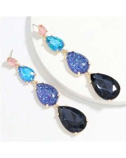 Waterdrop String Design Women Alloy Shoulder Duster Earrings - Blue