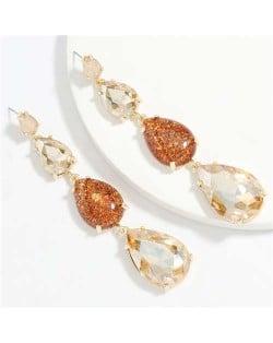 Waterdrop String Design Women Alloy Shoulder Duster Earrings - Brown