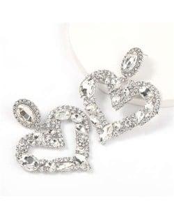 Romantic Shining Heart Bold Design Women Alloy Fashion Earrings - White