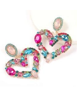Romantic Shining Heart Bold Design Women Alloy Fashion Earrings - Multicolor
