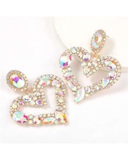Romantic Shining Heart Bold Design Women Alloy Fashion Earrings - Luminous White