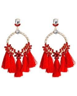 Cotton Threads Tassel Bold Hoop Bohemian Fashion Women Costume Earrings - Red