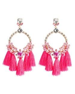 Cotton Threads Tassel Bold Hoop Bohemian Fashion Women Costume Earrings - Pink
