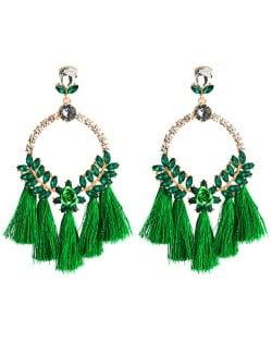 Cotton Threads Tassel Bold Hoop Bohemian Fashion Women Costume Earrings - Green