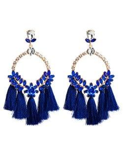 Cotton Threads Tassel Bold Hoop Bohemian Fashion Women Costume Earrings - Blue