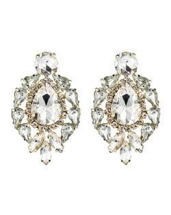 Rhinestone Super Shining Floral Waterdrop Inspired Design Women Costume Earrings - White