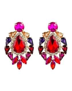 Rhinestone Super Shining Floral Waterdrop Inspired Design Women Costume Earrings - Red