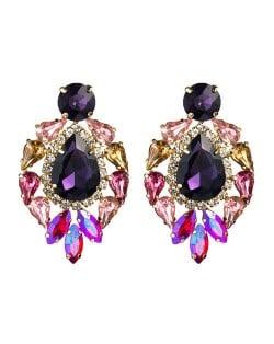 Rhinestone Super Shining Floral Waterdrop Inspired Design Women Costume Earrings - Purple