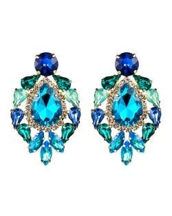 Rhinestone Super Shining Floral Waterdrop Inspired Design Women Costume Earrings - Blue