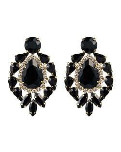 Rhinestone Super Shining Floral Waterdrop Inspired Design Women Costume Earrings - Black