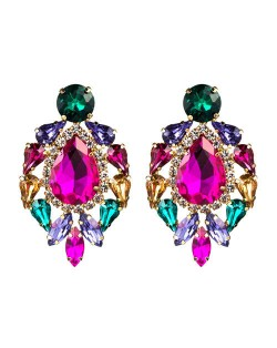 Rhinestone Super Shining Floral Waterdrop Inspired Design Women Costume Earrings - Rose