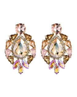 Rhinestone Super Shining Floral Waterdrop Inspired Design Women Costume Earrings - Golden