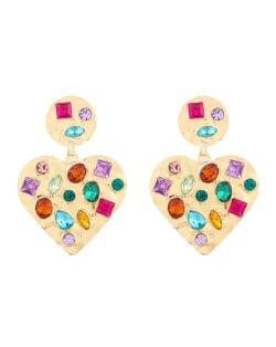 Acrylic Gems Inlaid Peach Heart Design Golden Alloy Women Fashion Earrings