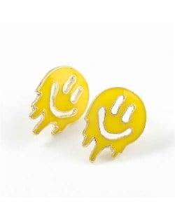 Cartoon Ghost Face Design Enamel Women Fashion Earrings - Yellow