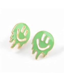 Cartoon Ghost Face Design Enamel Women Fashion Earrings - Green