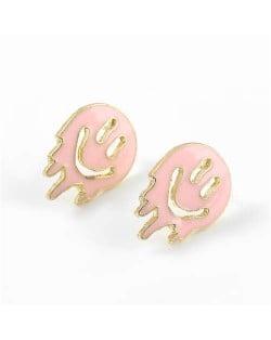 Cartoon Ghost Face Design Enamel Women Fashion Earrings - Pink
