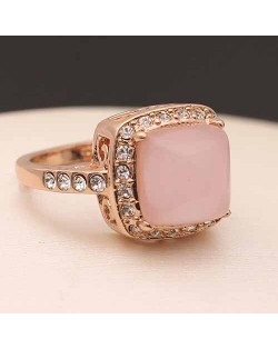 Pink Opal Inlaid 18K Rose Gold Statement Ring