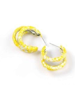 Multiple Semi-rings Combo Design High Fashion Women Earrings - Yellow