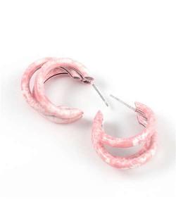Multiple Semi-rings Combo Design High Fashion Women Earrings - Pink