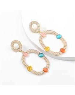 Resin Gems Embellished Oval Shape Women Hoop Earrings - Multicolor