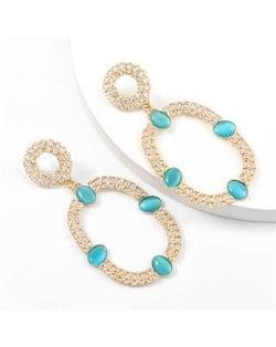 Resin Gems Embellished Oval Shape Women Hoop Earrings - Blue