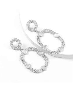 Resin Gems Embellished Oval Shape Women Hoop Earrings - Silver