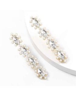 Rhinestone Leaves String Design Vintage Fashion Women Costume Earrings - White