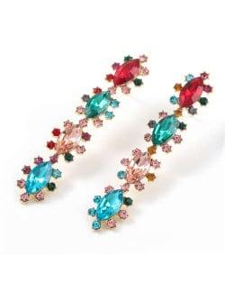 Rhinestone Leaves String Design Vintage Fashion Women Costume Earrings - Multicolor