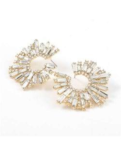 Glistening Flower Style High Fashion Women Costume Stud Earrings - White