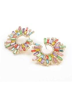 Glistening Flower Style High Fashion Women Costume Stud Earrings - Light Colorful