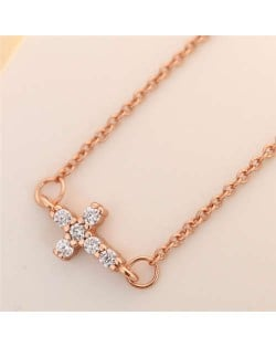Cubic Zirconia Inlaid Cross Pendant Korean Fashion Women Copper Necklace - Rose Gold