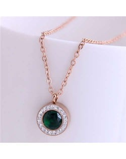 Czech Rhinestone Inlaid Round Pendant Elegant Fashion Women Titanium Stainless Steel Necklace - Green