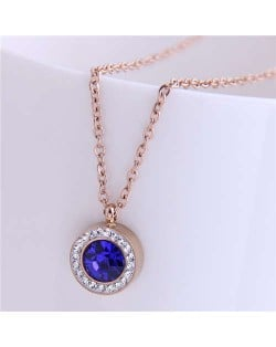 Czech Rhinestone Inlaid Round Pendant Elegant Fashion Women Titanium Stainless Steel Necklace - Blue