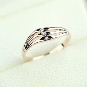 Simple Wave Shape Design 18k Rose Gold Engagement Ring