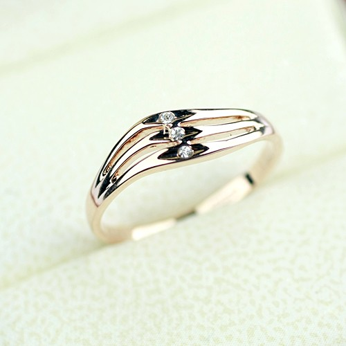 Simple Wave Shape Design 18K Rose Gold Engagement Ring