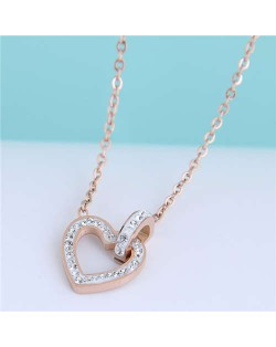 Linked Hearts Design Shining Fashion Women Titanium Stainless Steel Costume Necklace