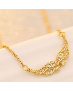 Cubic Zirconia Embellished Korean Fashion Angel Wing Gold Plated Women Necklace