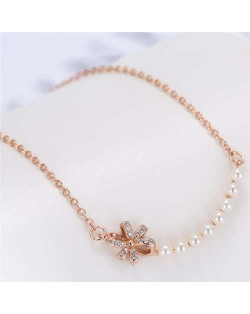 Pearl and Bowknot Combo Korean Fashion Unique Design Women Fashion Necklace - Rose Gold