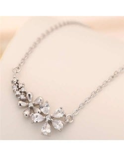 Cubic Zirconia Flowers Pendant Korean Fashion Women Statement Necklace