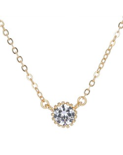 Cubic Zirconia Inlaid Delicate Gold Plated Sweet Fashion Women Necklace