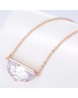 Cubic Zirconia Shining Pendant Sweet Design Women Korean Fashion Necklace - Rose Gold