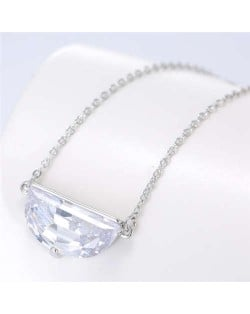 Cubic Zirconia Shining Pendant Sweet Design Women Korean Fashion Necklace - Silver