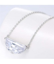 Cubic Zirconia Shining Pendant Sweet Design Women Korean Fashion Necklace - Silver