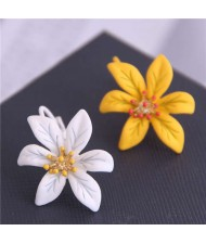 White and Yellow Flower High Fashion Asymmetric Design Women Stud Earrings