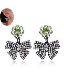 Rhinestone Embellished Bowknot Design Korean Fashion Green Women Stud Earrings
