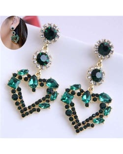 Green Rhinestone Elegant Heart Design Women Stud Statement Earrings