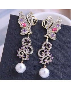 Artificial Pearl Decorated Rhinestone Shining Butterfly Design Women Fashion Earrings